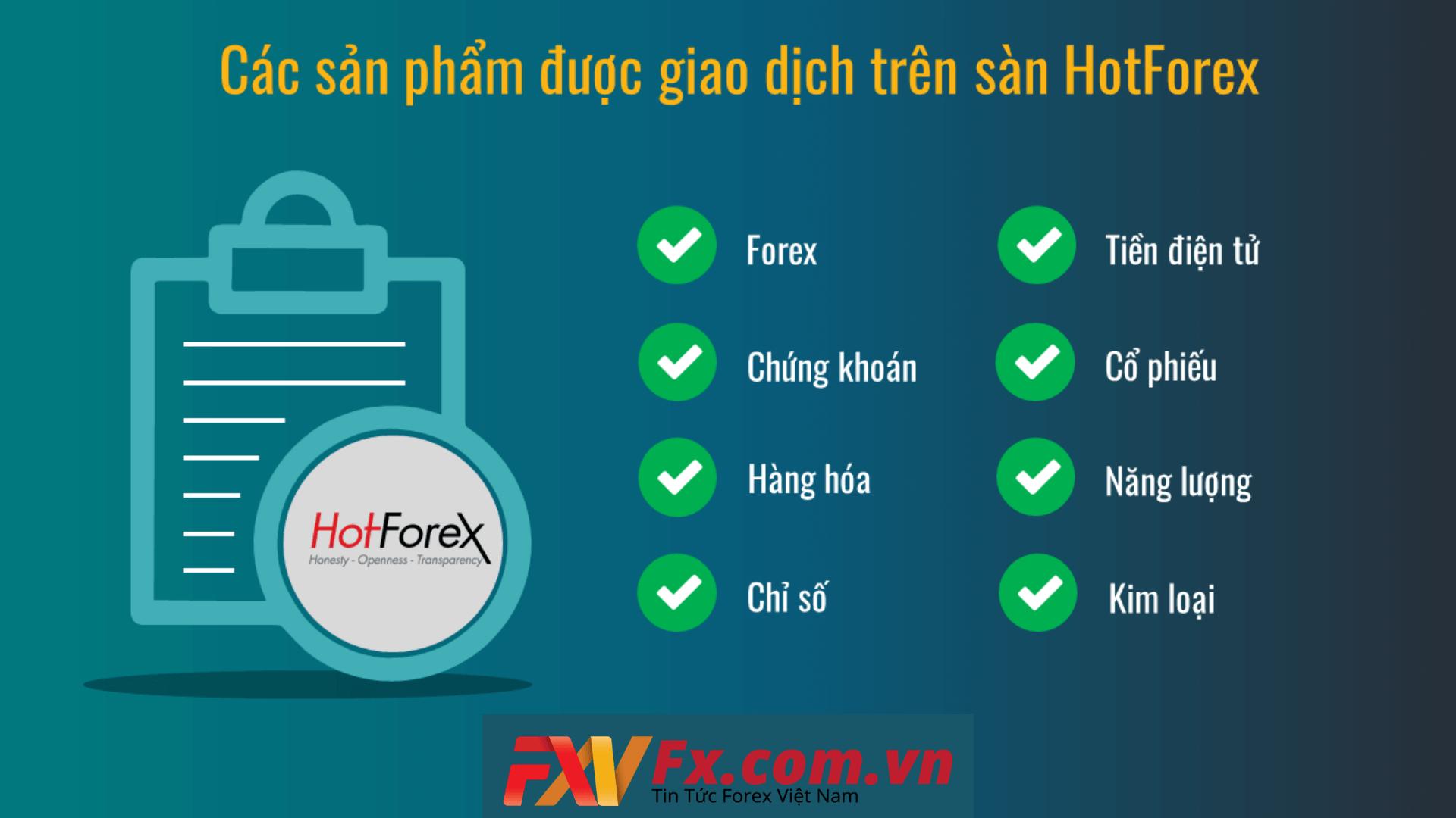 Các sản phẩm của sàn Hotforex