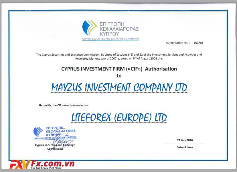LiteFinance được cấp phép bởi tổ chức Cyse