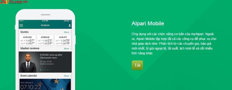Đánh giá sàn Alpari qua nền tảng mobie