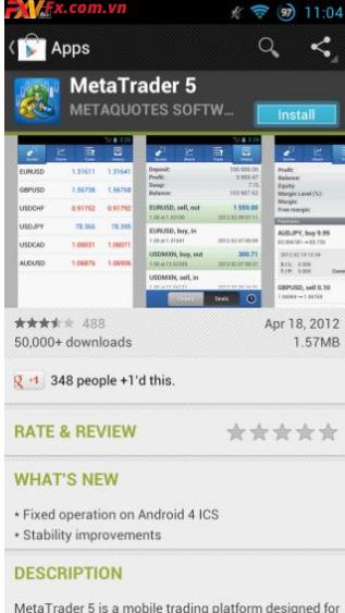 Cách sử dụng MT5 trên điện thoại di động Android