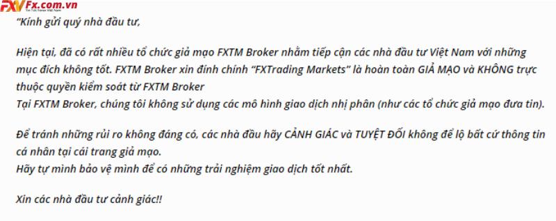 Lời cảnh báo từ FXTM về sàn FX Trading Markets lừa đảo