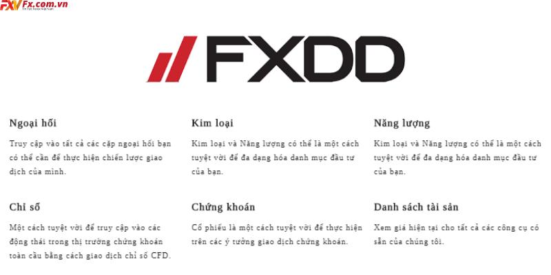 Về sản phẩm giao dịch của FXDD