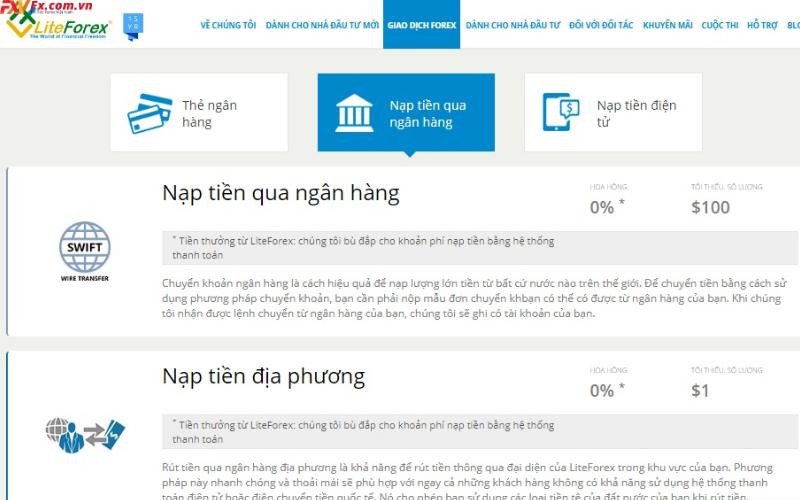 Các bước nạp tiền vào tài khoản của LiteFinance