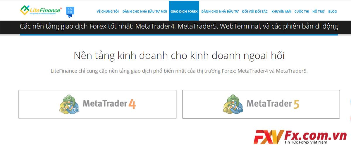 Nền tảng MT4 và MT5 của sàn LiteFinance