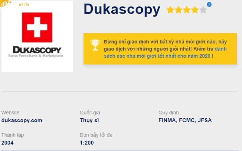 Thông tin đánh giá sàn Dukascopy mới nhất