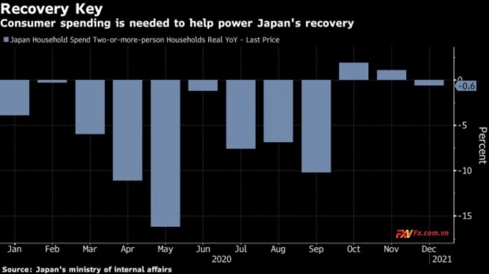 Chi tiêu hộ gia đình Nhật Bản giảm 0,6% so với tháng 12 năm ngoái