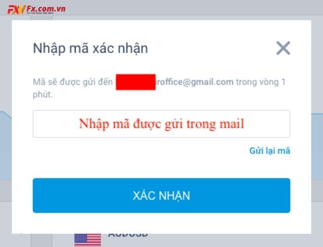 Nhập mã xác nhận được gửi qua email