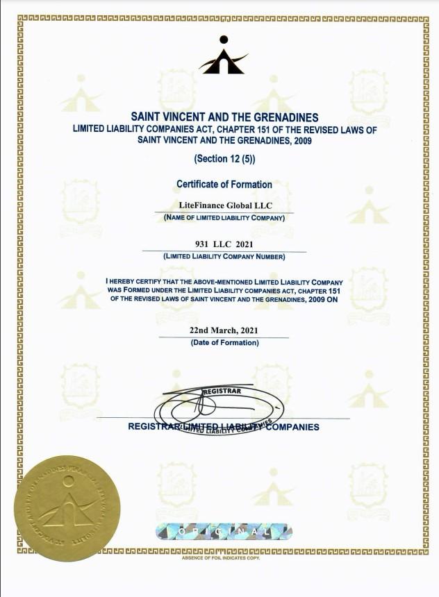 Giấy phép SVG của LiteFinance