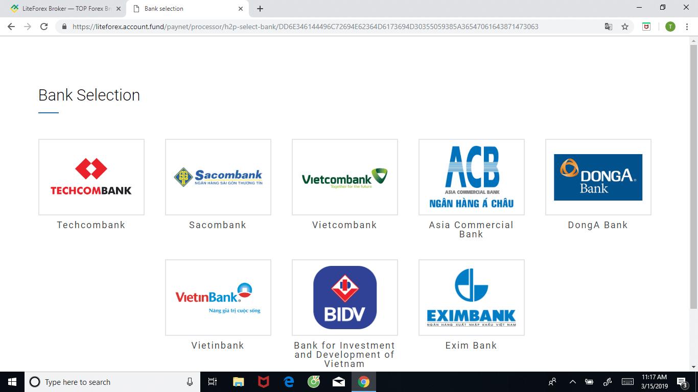 Lựa chọn một trong số những ngân hàng