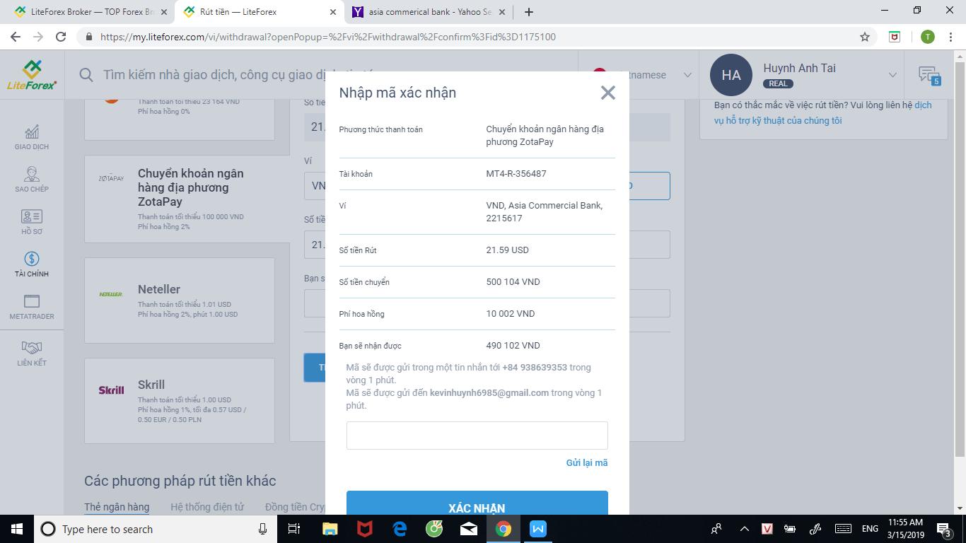 Xác nhận mã qua email