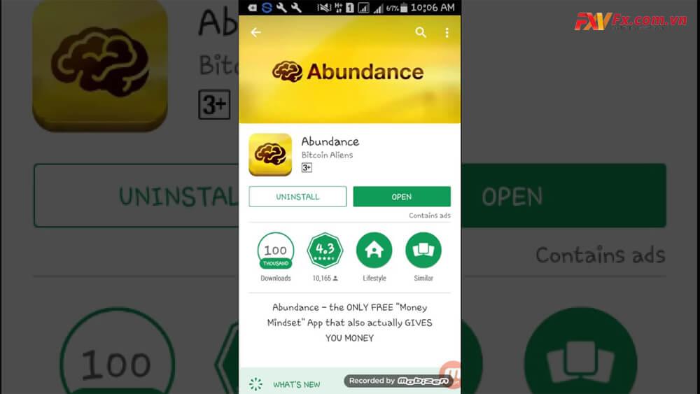 Đào bitcoin trên điện thoại thông qua app Abundance
