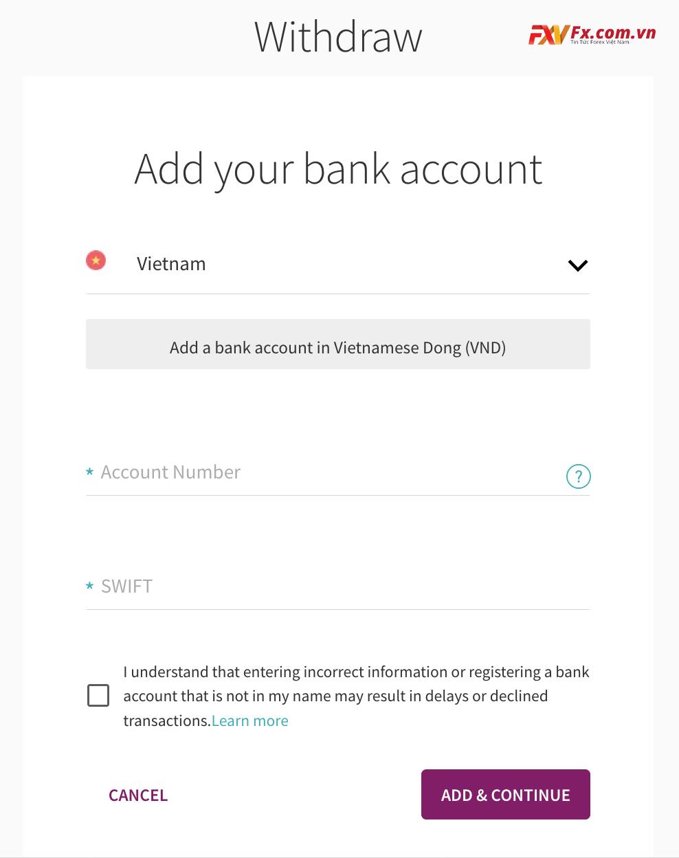 Điền số tài khoản ngân hàng của bạn