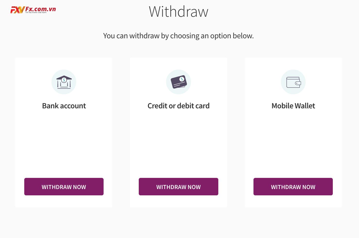 3 tùy chọn rút tiền dành cho bạn
