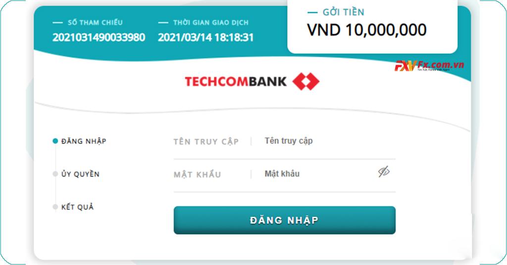 Đăng nhập vào ngân hàng Techcombank