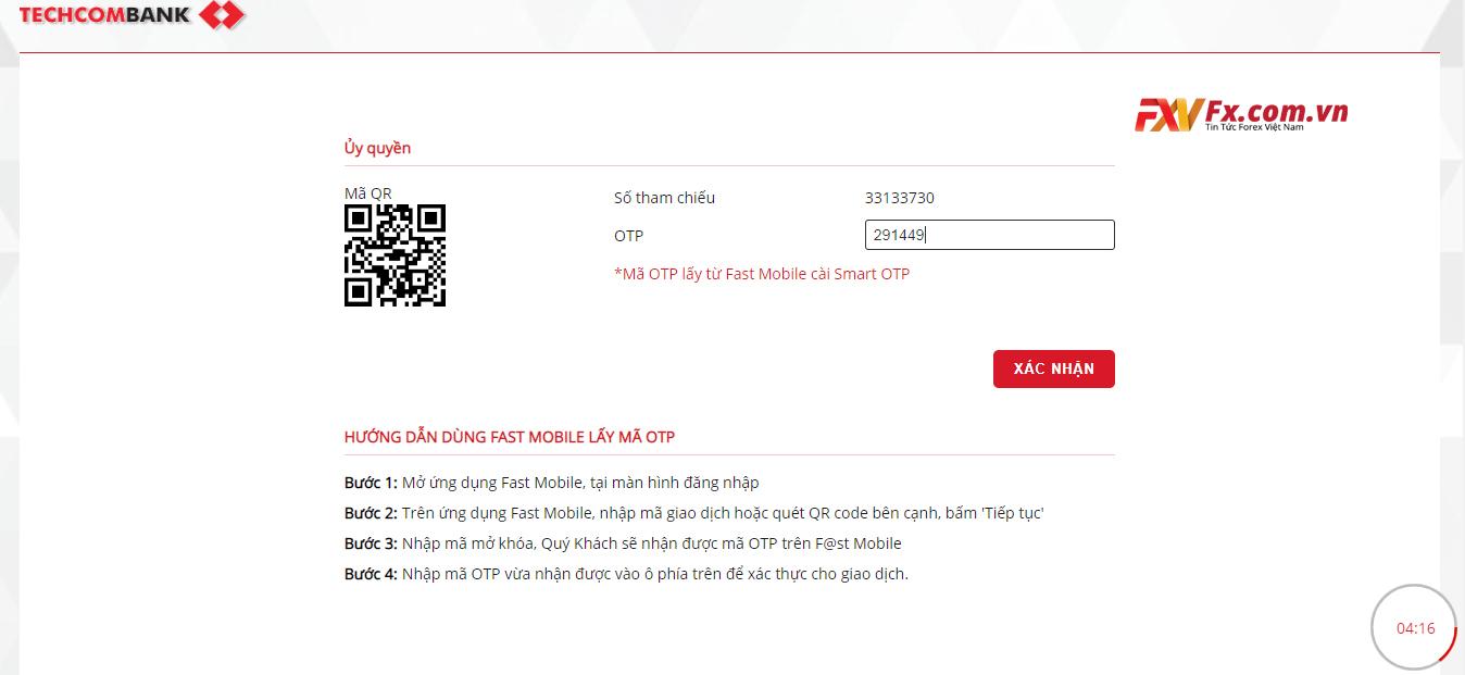 Điền mã xác nhận OTP để nạp tiền