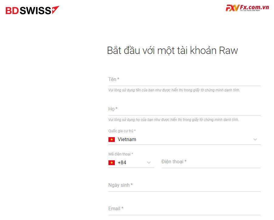 Bắt đầu giao dịch với tài khoản Raw