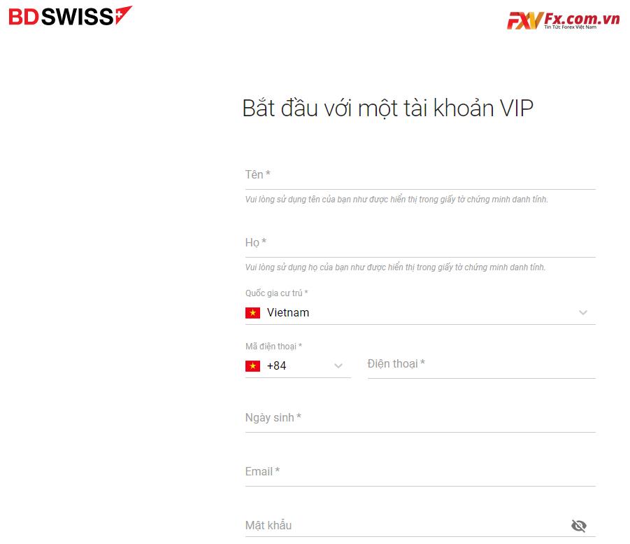 Bắt đầu giao dịch với tài khoản VIP tại BDSwiss