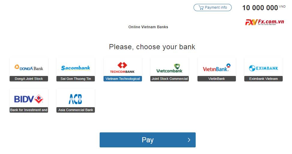 Chọn loại ngân hàng nạp tiền