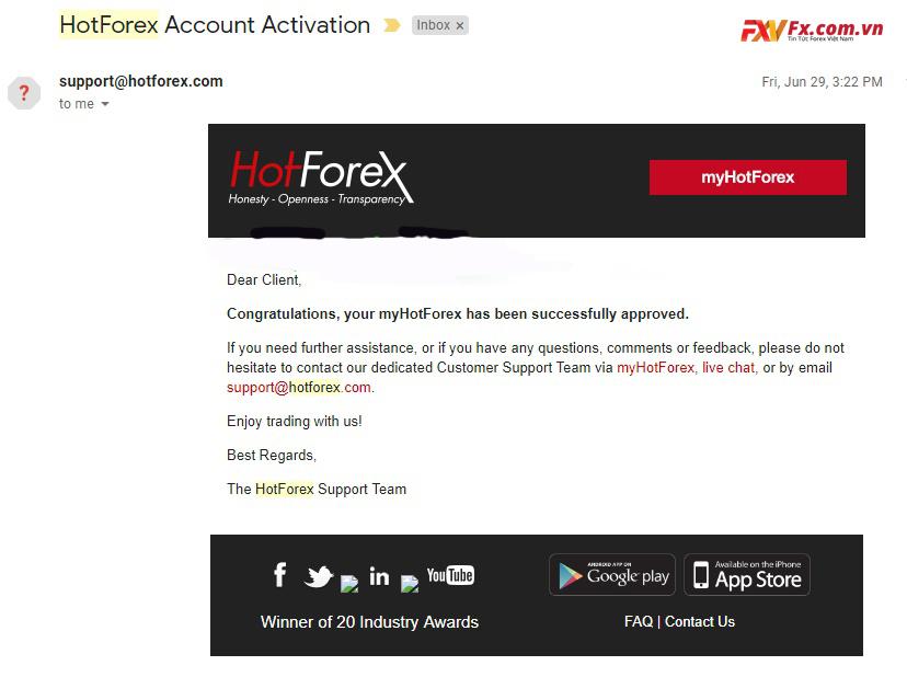 Hoàn thành việc mở tài khoản HotForex