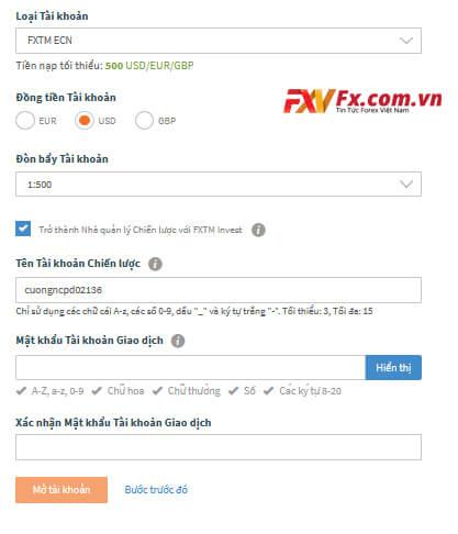 Lựa chọn loại tài khoản để mở tài khoản FXTM