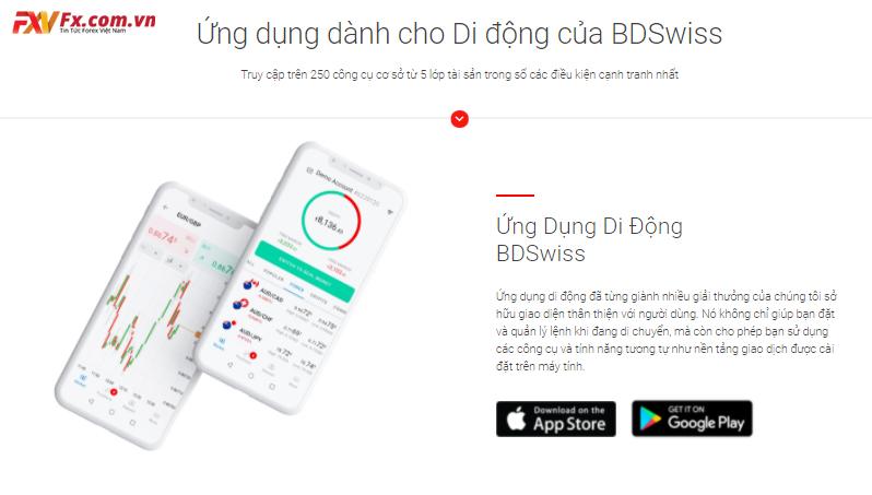 Theo dõi hiệu suất giao dịch trên ứng dụng di động của BDSwiss
