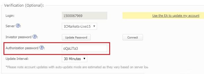 Đổi mật khẩu để cài MT4 lên Myfxbook