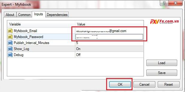 Điền mail và mật khẩu